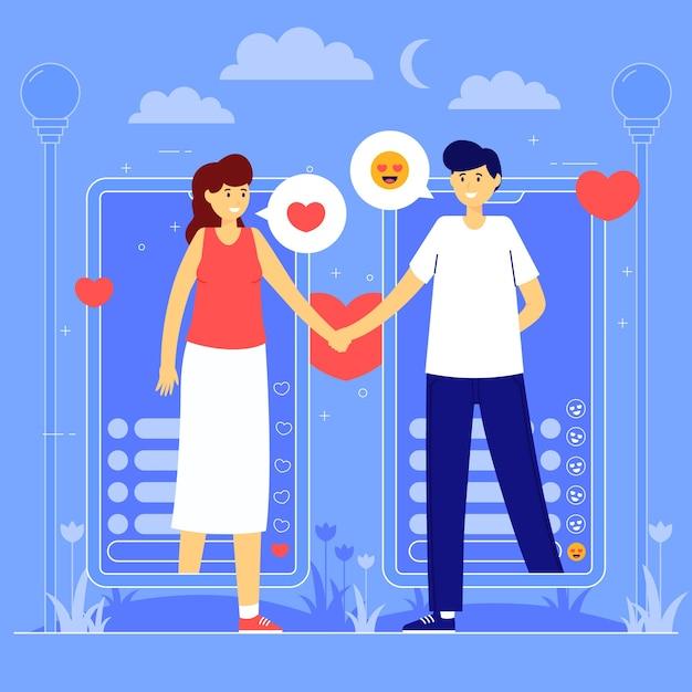 Joli Jeune Couple Amoureux Illustration Vecteur gratuit