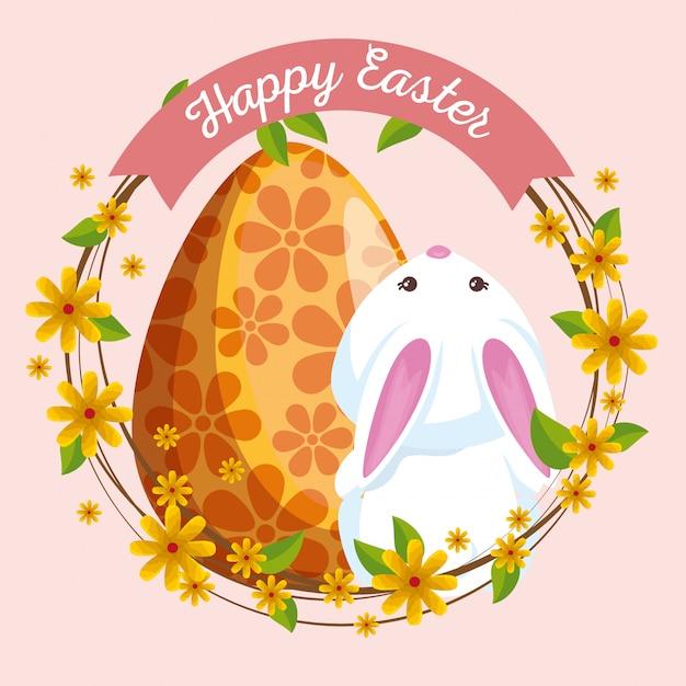 Joli lapin à décor d'oeufs et de fleurs Vecteur gratuit