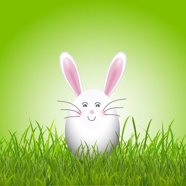 Joli lapin oeuf de pâques en herbe Vecteur gratuit