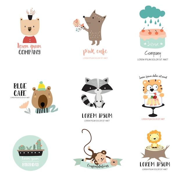 Joli logo animalier pour enfant Vecteur Premium