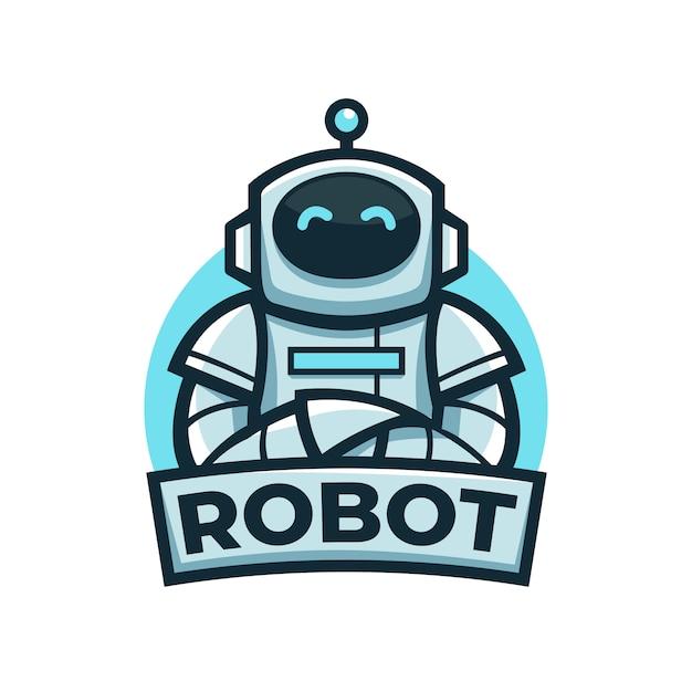 Joli Logo De Mascotte De Robot Bleu Amical Avec Pose De Bras Croisés Vecteur Premium