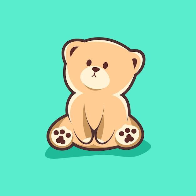 Joli logo d'ours Vecteur Premium