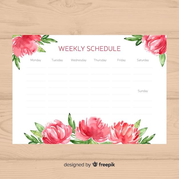 Joli modèle de calendrier hebdomadaire avec style floral Vecteur gratuit
