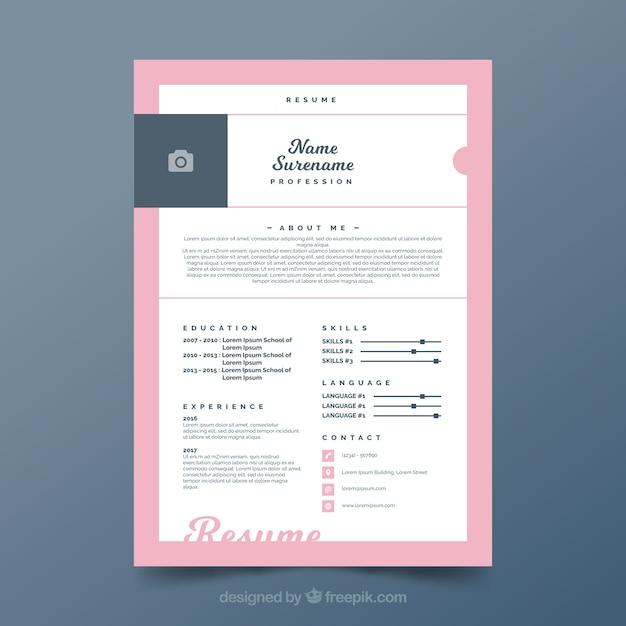 joli mod u00e8le de curriculum avec cadre rose