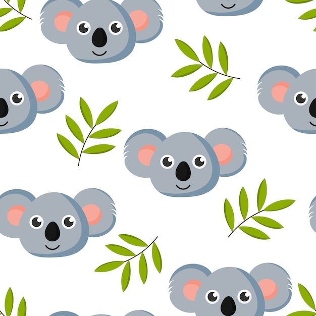 Joli Modèle Sans Couture Avec Bébé Koala De Dessin Animé