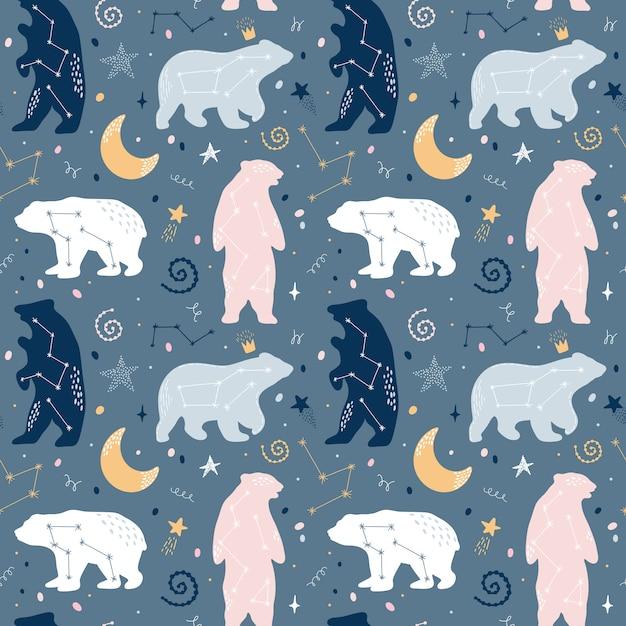 Joli modèle sans couture avec les constellations d'ours sur le ciel Vecteur Premium