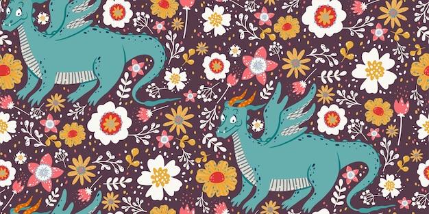 Joli modèle sans couture avec des dragons, des plantes et des fleurs Vecteur Premium