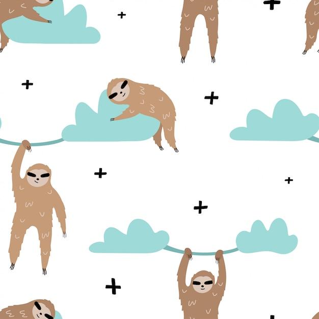 Joli modèle sans couture avec paresseux sur les nuages. Vecteur Premium