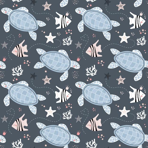 Joli modèle sans couture avec des tortues et des poissons Vecteur Premium