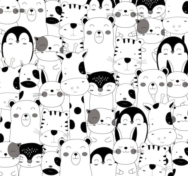 Le joli motif de dessin animé animal bébé en noir et blanc Vecteur Premium