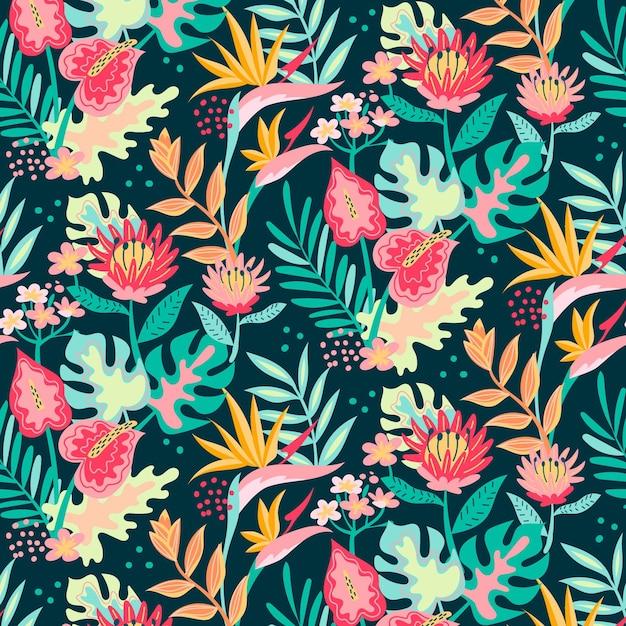 Joli Motif Floral Coloré Vecteur gratuit