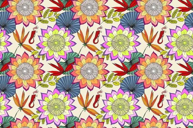 Joli Motif Floral Exotique Peint à La Main Vecteur gratuit