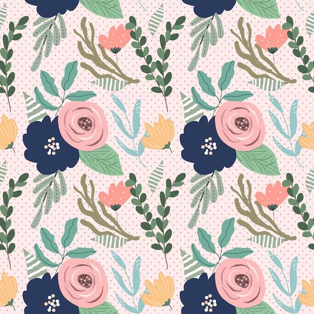 Joli motif floral sans soudure Vecteur Premium