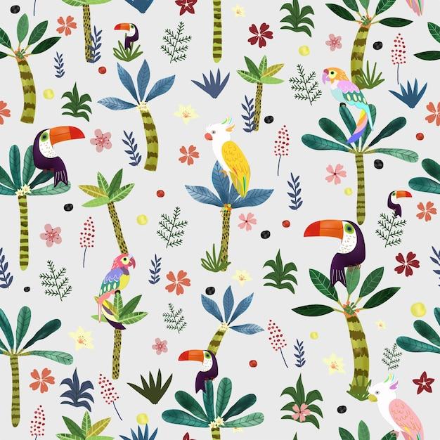 Joli Oiseau En Jacquard Sans Soudure De Forêt Tropicale Botanique. Vecteur Premium