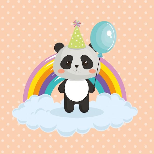 Joli panda avec une carte d'anniversaire arc-en-ciel kawaii Vecteur gratuit