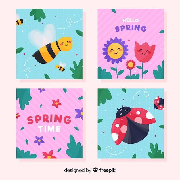 Joli paquet de cartes de printemps Vecteur gratuit