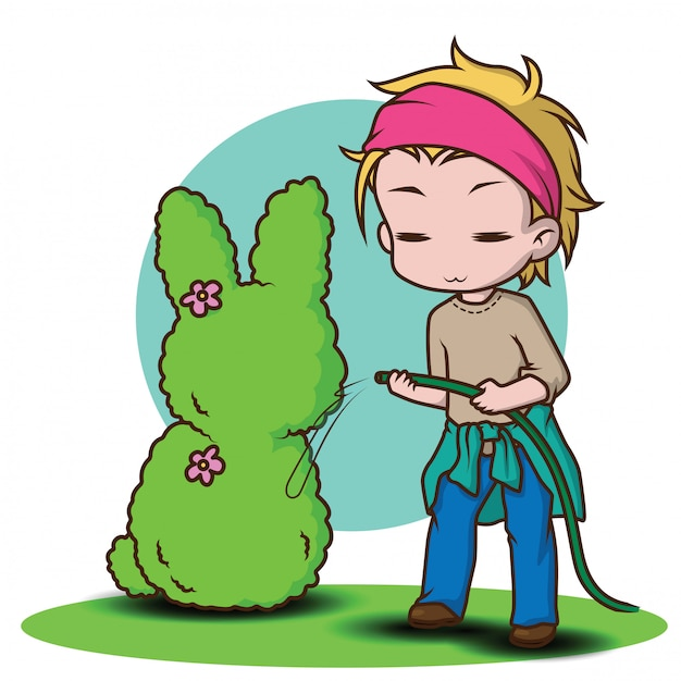 Joli personnage de jardinier Vecteur Premium