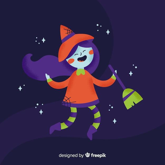 Joli personnage de sorcière au design plat Vecteur gratuit