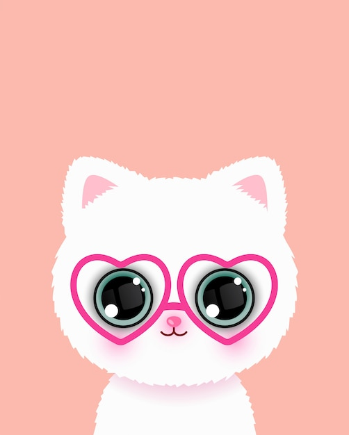 Joli petit chat à lunettes Vecteur Premium