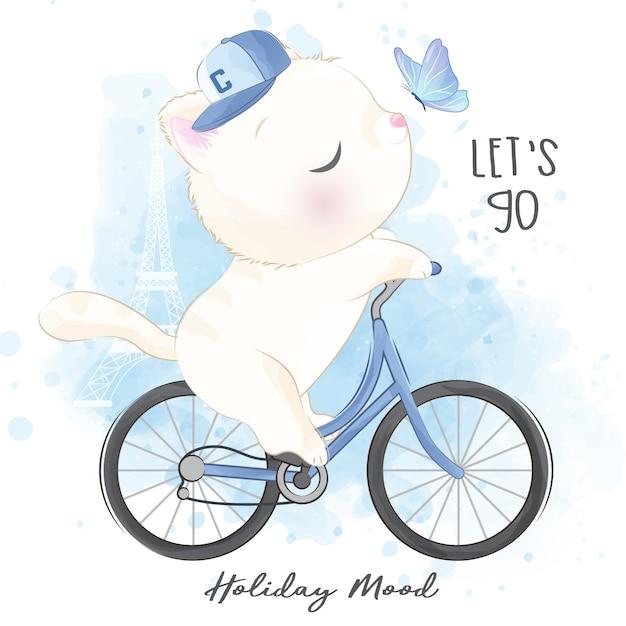 Joli Petit Chaton à Bicyclette Vecteur Premium