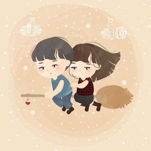 Joli Petit Couple Avec Balai D'amour Vecteur Premium