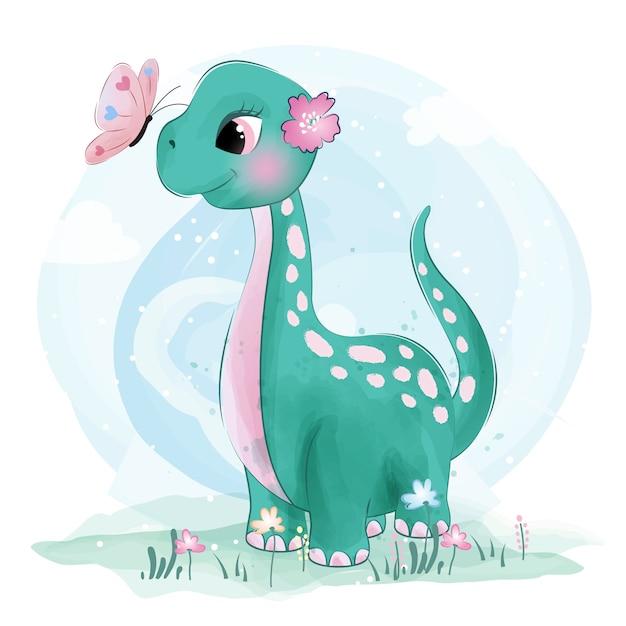 Joli petit dinosaure jouant avec des papillons Vecteur Premium