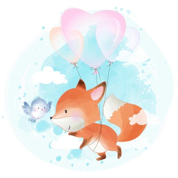 Joli petit foxy volant avec ballon d'amour Vecteur Premium