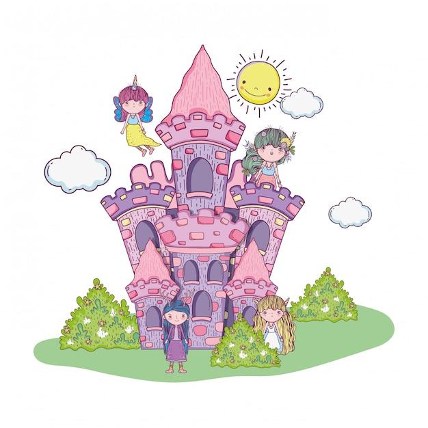 Joli petit groupe de fées dans le château Vecteur Premium