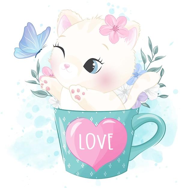 Joli petit minou dans la tasse jouant avec un papillon Vecteur Premium