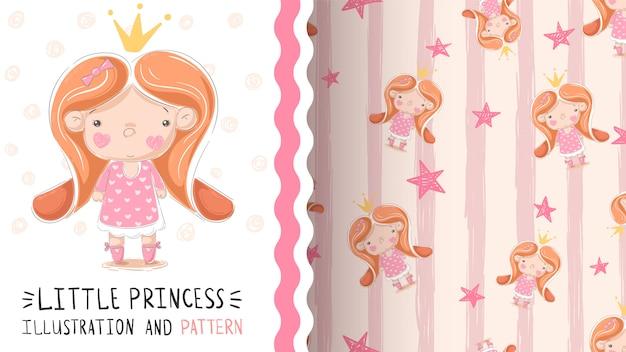 Joli petit modèle sans couture de princesse Vecteur Premium