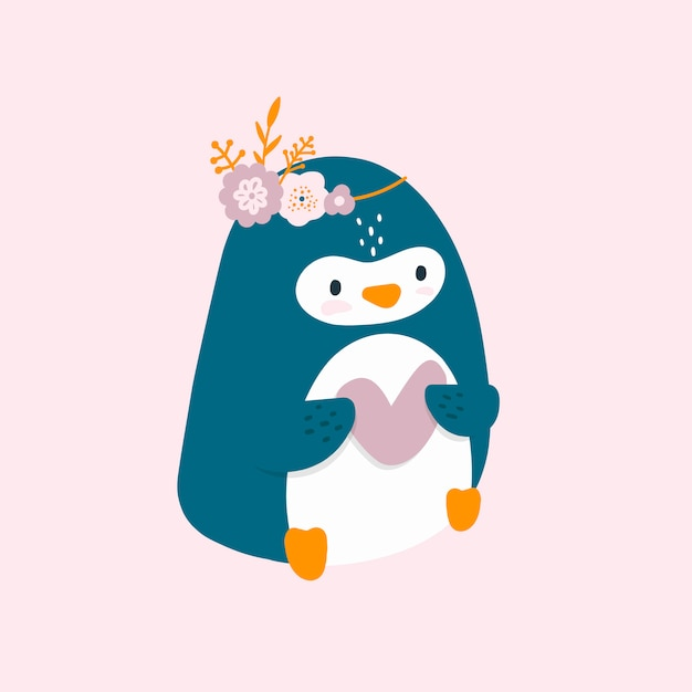 Joli petit pingouin avec coeur Vecteur Premium