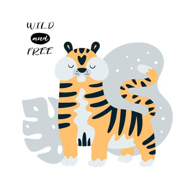 Joli Petit Tigre Dans La Jungle Vecteur Premium