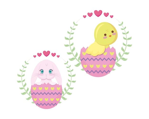 Joli poulet et lapin de pâques dans les œufs Vecteur Premium