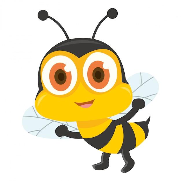 Une jolie abeille marchant et montrant son aiguillon Vecteur Premium