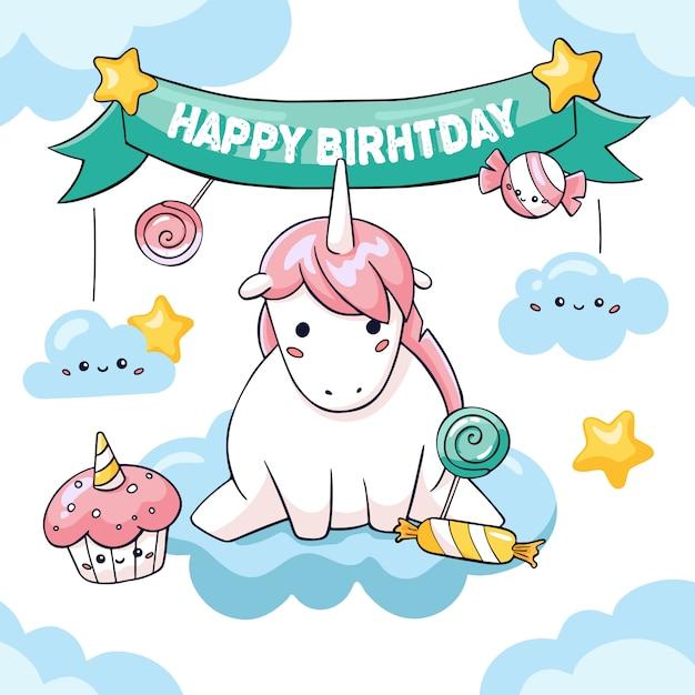 Jolie carte d'anniversaire avec grosse licorne Vecteur Premium