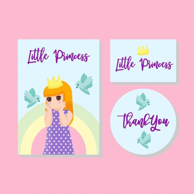 Jolie carte enfants invitation grâce carte garçon fille dessinée à la main Vecteur Premium