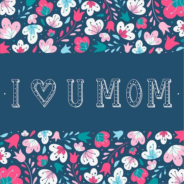 Jolie carte de fête des mères Vecteur Premium