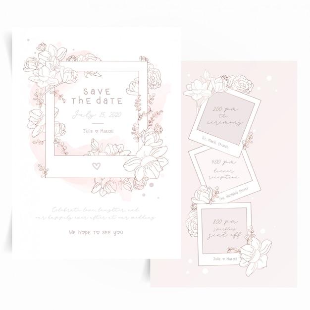 Jolie carte d'invitation avec cadre photo polaroid et fleurs Vecteur Premium