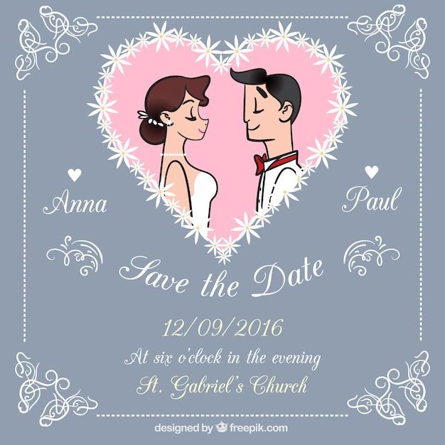 Jolie Carte De Mariage Avec Des Dessins Vecteur Gratuite