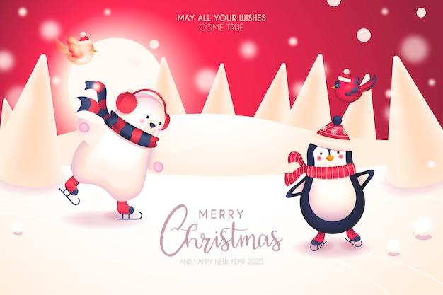 Jolie carte de noël avec de jolis personnages d'hiver Vecteur gratuit