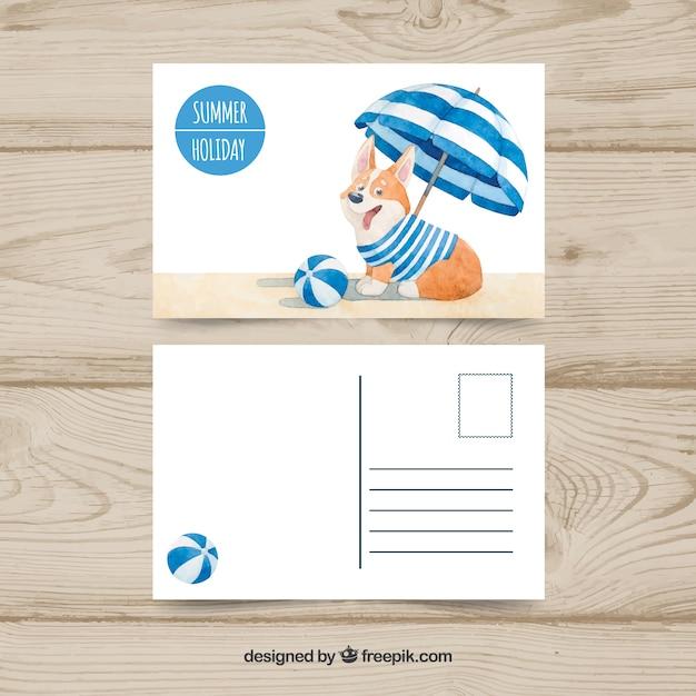 Jolie carte postale d'été dans le style aquarelle avec chien Vecteur gratuit