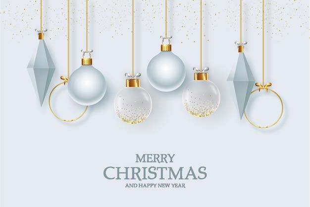 Jolie Carte De Voeux De Noël Avec Décoration élégante De Noël Réaliste Vecteur gratuit