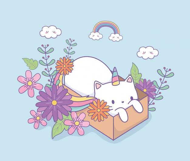 Jolie Caticorne à Décor Floral Dans Une Boîte En Carton Vecteur Premium