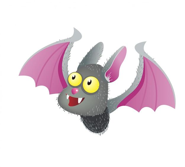 Jolie chauve-souris vampire souriante. illustration de plat personnage halloween dessin animé. Vecteur gratuit