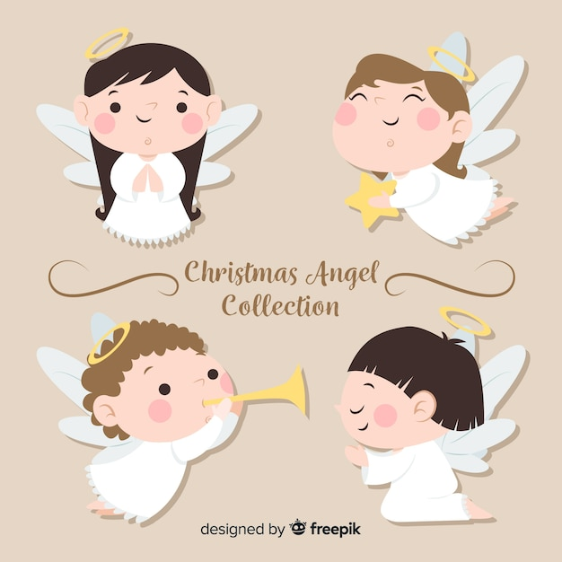 Jolie collection d'anges de noël au design plat Vecteur gratuit
