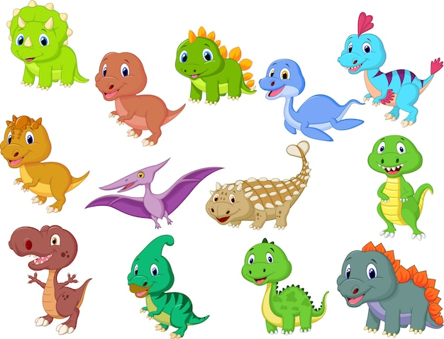 Jolie collection de dinosaures Vecteur Premium