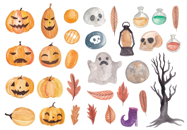 Jolie collection d'éléments d'aquarelle halloween Vecteur Premium