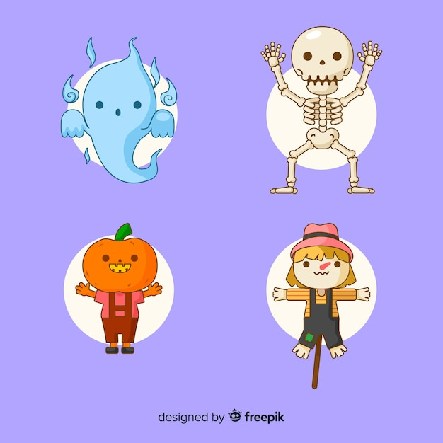Jolie Collection De Personnages De Halloween Sur Design Plat Vecteur gratuit