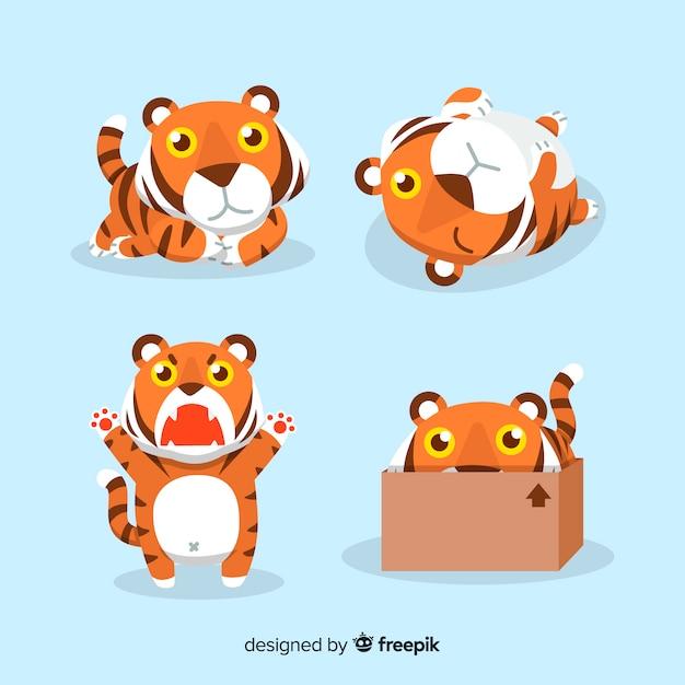 Jolie collection de tigres Vecteur gratuit