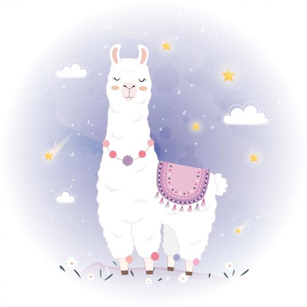 Jolie conception de lama avec meteor Vecteur Premium
